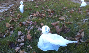 ghosts on lawn