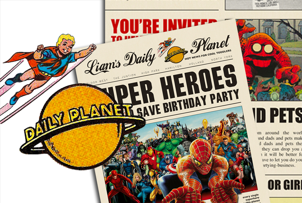 superhero newspaper invitation template free Josemulinohouseco