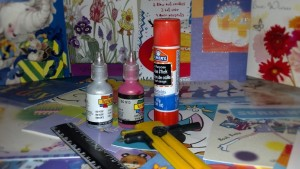 Get your glue, puffy paint, scissors, ribbon and cards