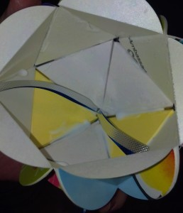 The inside of the ball will look like this while you are attaching the top, bottom and middle