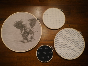Lay out your finished hoops on a flat surface to figure out how you want them displayed.