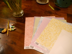 I chose a selection of paper with different patterns and colours so I could mix and match.