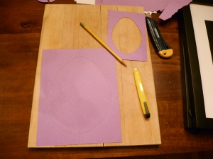 I drew guidelines on my template to help me draw symmetrical eggs that were centred on the page.