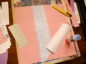 Glue your paper strips down one at a time and ensure you cover the entire surface of your shape.