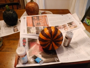 Finishing up my striped pumpkin. I made sure the glue was super dry on the top before laying down my pumpkin.