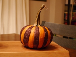 Finished striped pumpkin. If I had more time, I was going to attempt a second colour.
